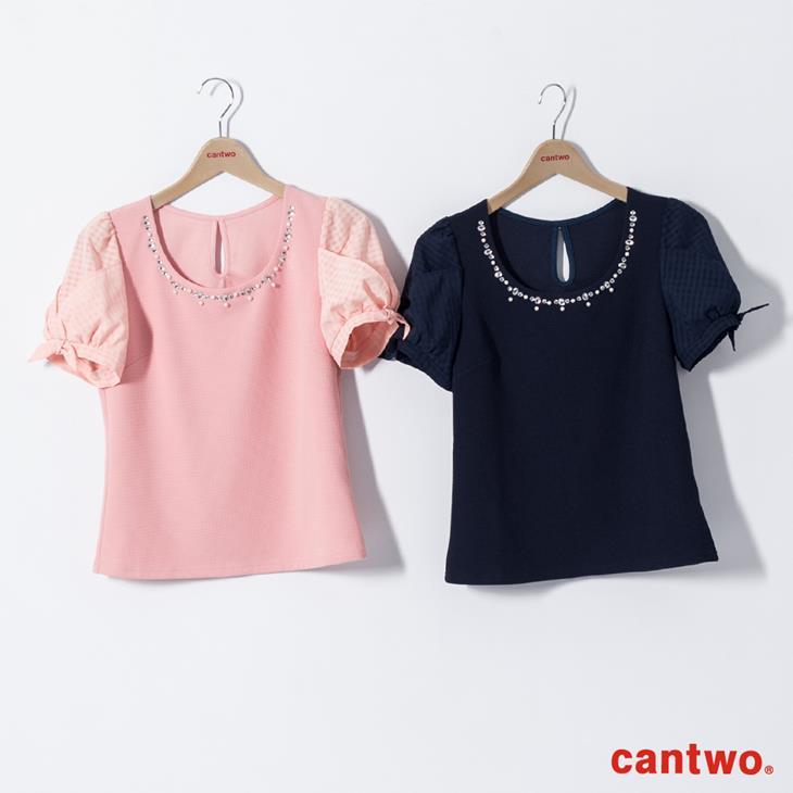 cantwo名媛風珠飾公主袖上衣(共三色) 6