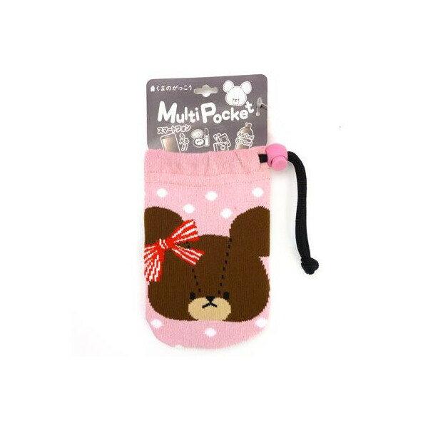 【真愛日本】15101100012 多功能毛襪收納袋-小熊粉 迪士尼 熊的學校 收納袋 化妝包 手機袋 收納用品