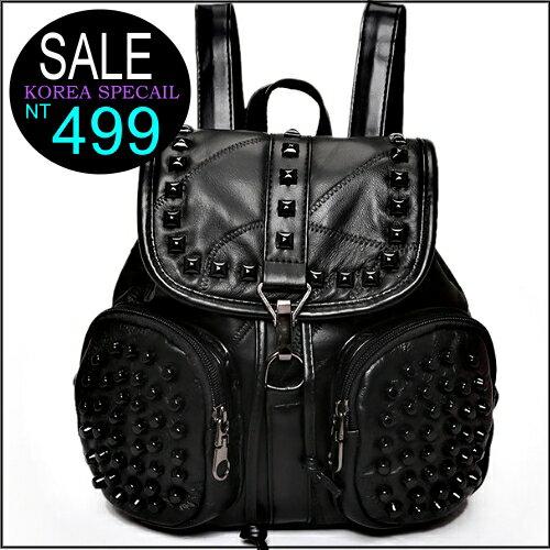 ☆克妹☆現貨+預購【ZT31432】Street歐美時尚小羊皮金屬鉚釘雙肩後背包