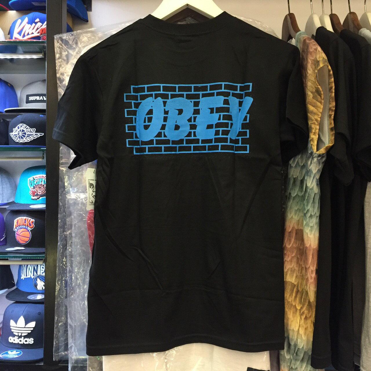 BEETLE PLUS 西門町經銷 全新 美國品牌 OBEY BRICK WALL TEE 磚牆 全黑 白字 黑白 LOGO 短T 163081179BLK OB-418 2