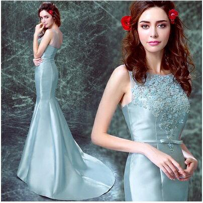 天使嫁衣【AE1112】藍色蕾絲珠花包臀魚尾小拖尾晚禮服˙預購訂製款