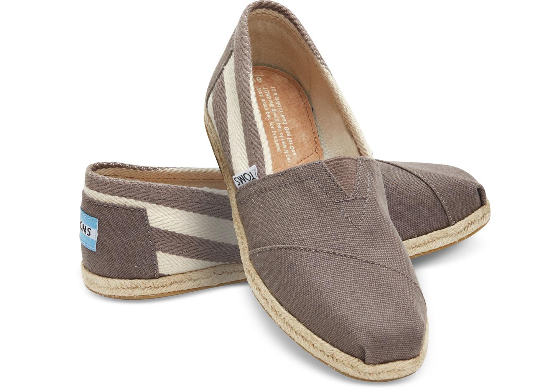 【TOMS】灰色寬條紋學院風平底鞋  Dark Grey Stripe University Women's Classics 0