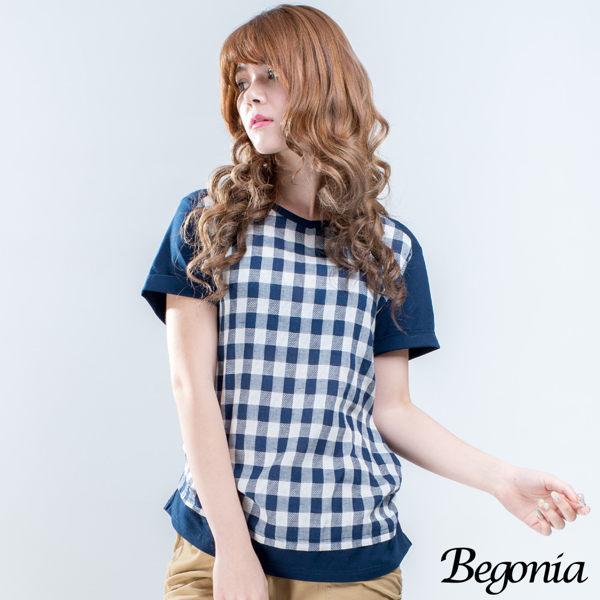 Begonia 木釦格紋拼接側抓皺棉麻上衣 - 限時優惠好康折扣