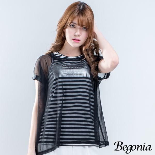 Begonia 透膚紗罩衫亮膠條紋二件式上衣 - 限時優惠好康折扣