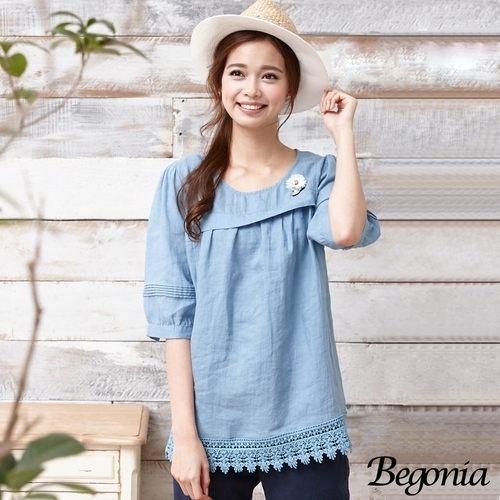 上衣 Begonia 小花縫釦布蕾絲棉麻上衣(共二色) - 限時優惠好康折扣