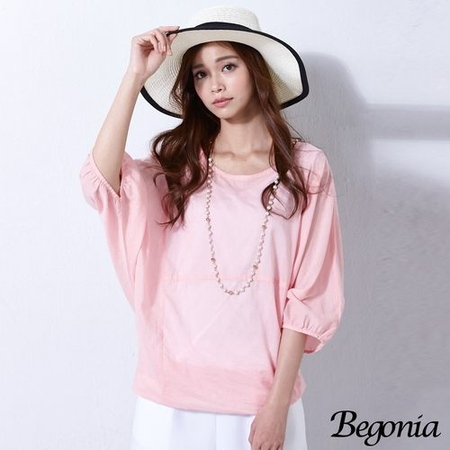 上衣 Begonia 假兩件飛鼠袖水洗棉上衣(共二色) 0