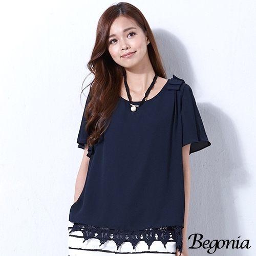 上衣 Begonia 荷葉袖肩飾布蕾絲雪紡上衣(共二色) - 限時優惠好康折扣