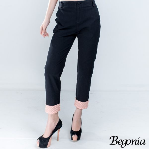 Begonia 配色點點彈性棉麻休閒褲 - 限時優惠好康折扣