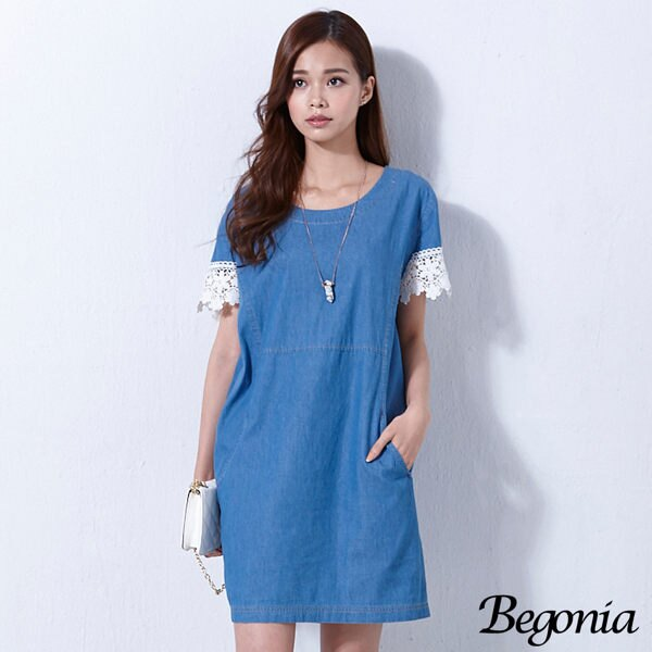 Begonia 牛仔棉緹花袖縫線口袋洋裝 - 限時優惠好康折扣