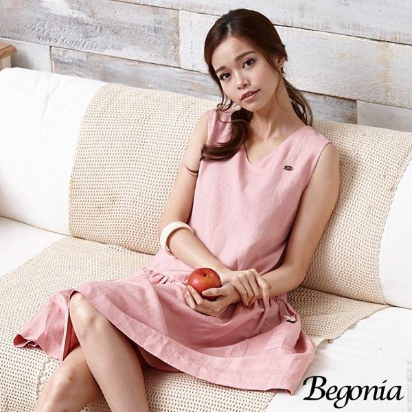 洋裝 Begonia 小V領木釦口袋無袖亞麻洋裝 - 限時優惠好康折扣