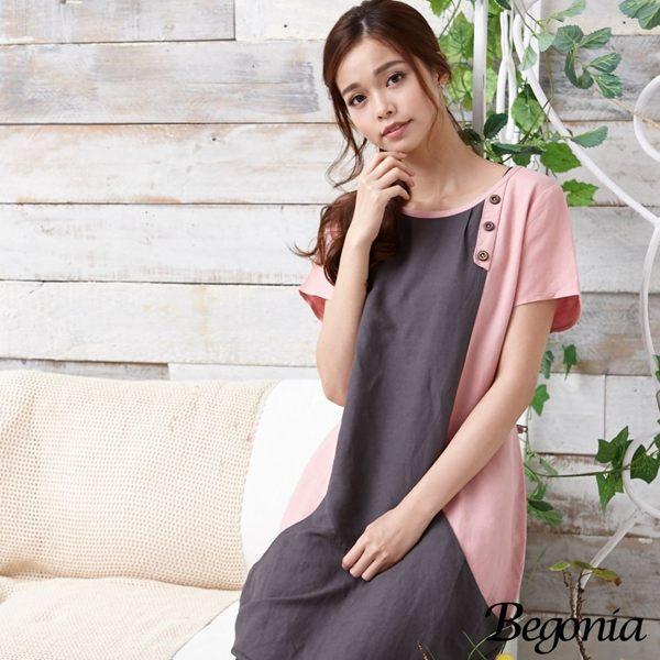 洋裝 Begonia 木釦配色拼接大口袋亞麻洋裝 - 限時優惠好康折扣
