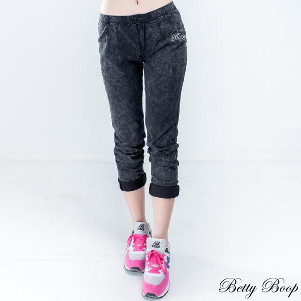 Betty Boop 雙釦褲頭洗舊彈性窄管牛仔褲 - 限時優惠好康折扣