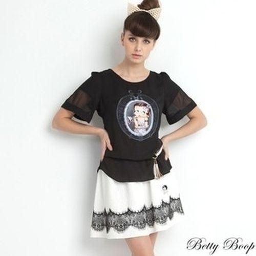 裙 Betty Boop貝蒂 蕾絲裝飾腰鬆緊及膝裙 - 限時優惠好康折扣