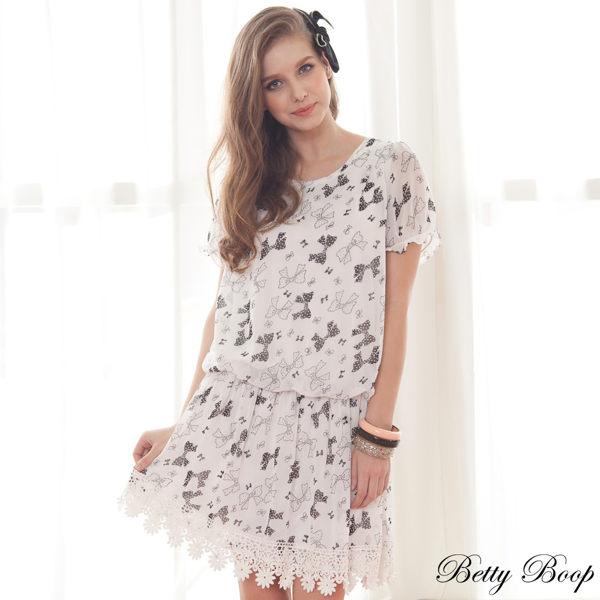 洋裝 Betty Boop貝蒂 點點蝴蝶結緹花擺縮腰雪紡洋裝 0