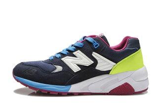 NEW BALANCE 580反毛皮運動休閒鞋慢跑鞋子 深藍男女鞋