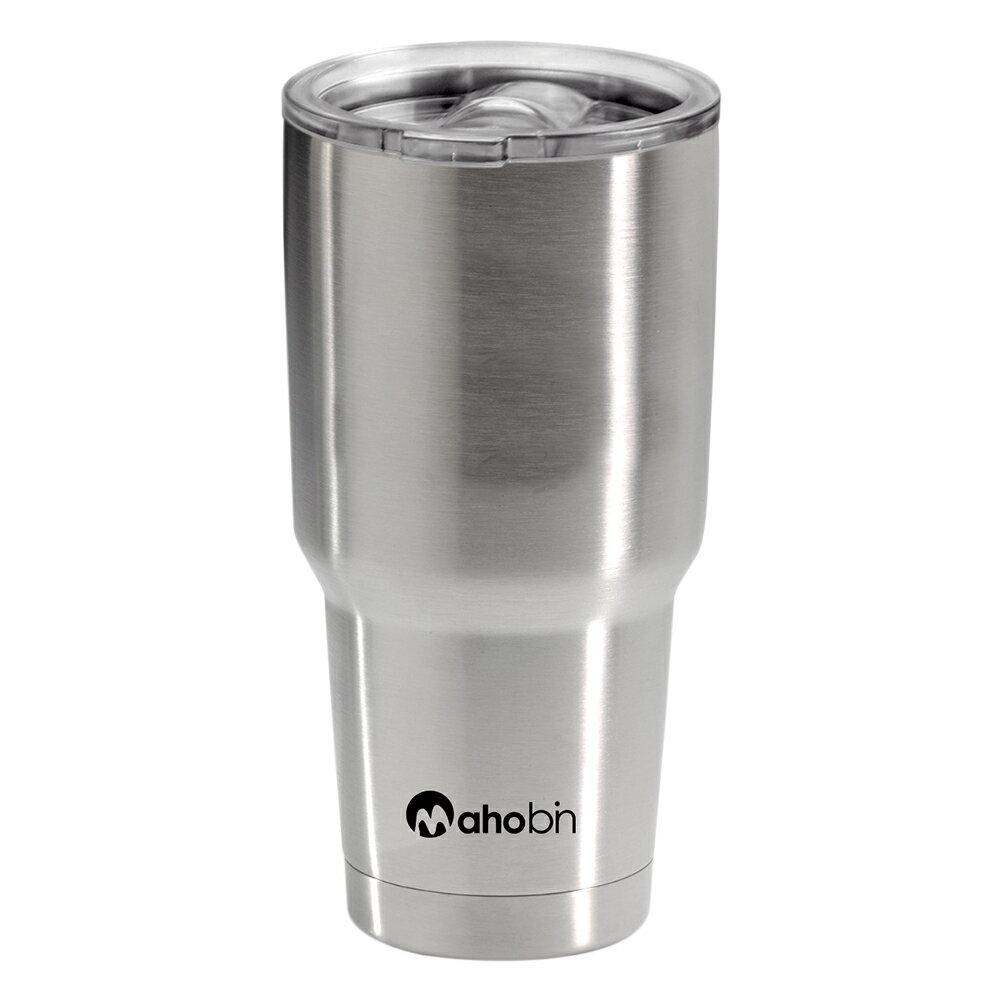 Mahobin魔法瓶 304不鏽鋼雙層真空加蓋啤酒杯 保溫杯 保冰杯800cc^(MF03