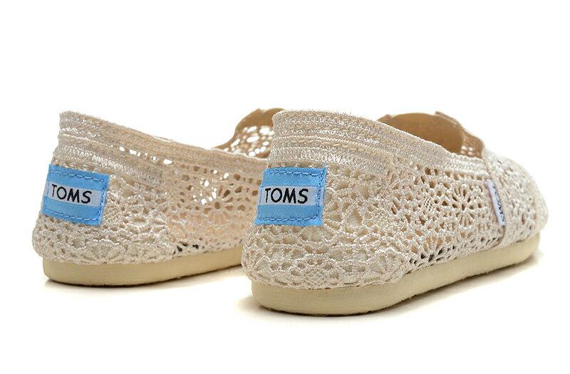【TOMS】米白色蕾絲鏤空繡花平底休閒鞋  Natural Crochet Women's Classics 4