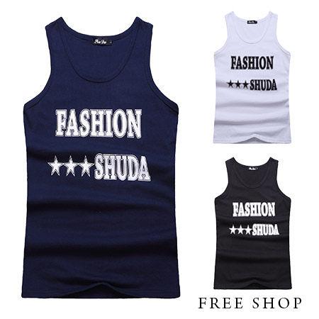 Free Shop【QR05070】美式休閒FASHION字母星星印花潮流運動球衣棉質背心‧三色 MIT 台灣製