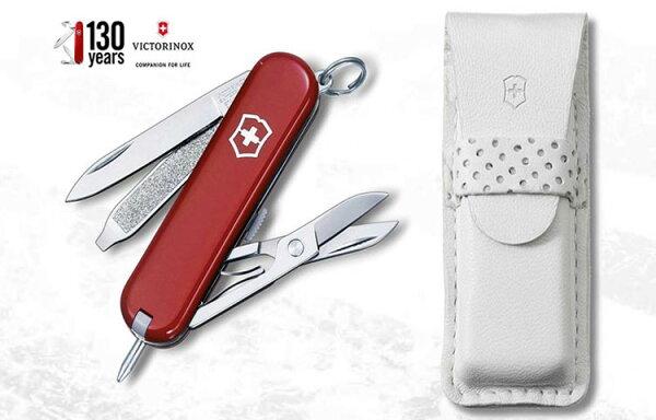 Victorinox 130週年紀念款-瑞士筆刀-7用/附白皮套 #0.6225.J14