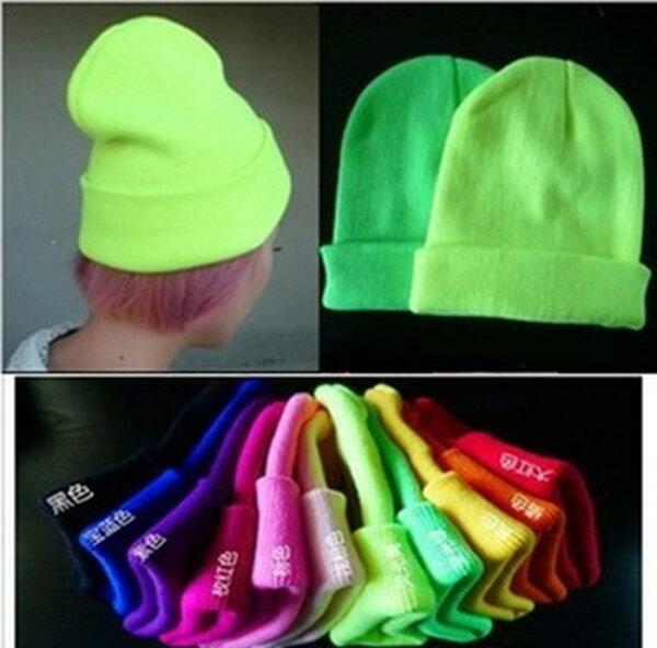 50%OFF【P08819WH】毛線帽子保暖潮韓版韓國螢光色包頭帽子針織帽套頭素色毛帽