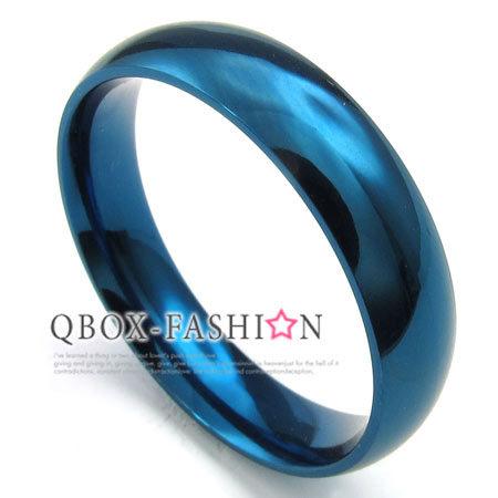 《 QBOX 》FASHION 飾品【W10023312】精緻個性素面藍色316L鈦鋼戒指/戒環(0.5cm)