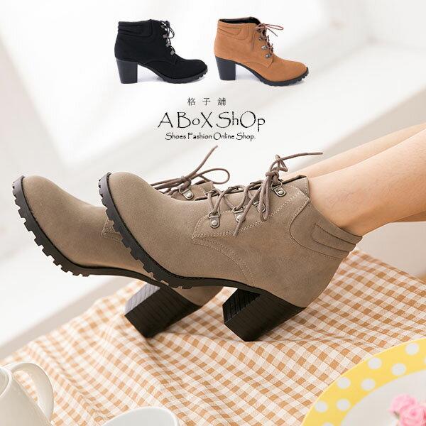 格子舖*【KW6661】MIT台灣製 韓版時尚質感麂皮 綁帶7CM粗高跟 短筒靴 短靴 3色 2