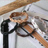 CK-AC-03    珍愛    真皮三股編手環/手作り 三編みブレスキット