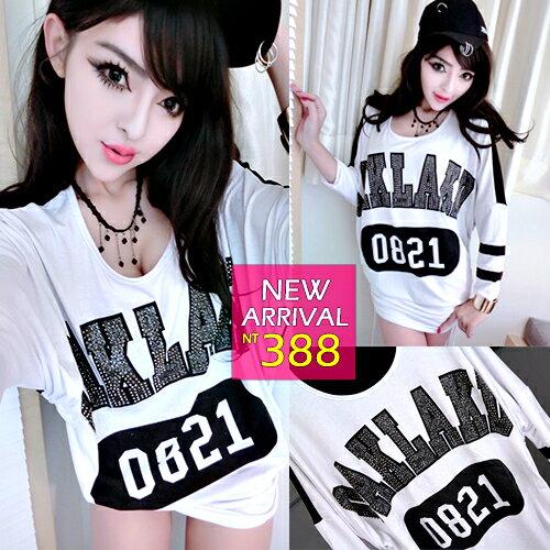 ~克妹~  ~ZT32148~E~Diamond 奢華彩鑽字母側抽繩黑白撞色蝙蝠袖洋裝