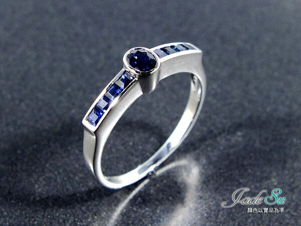 天然藍寶石戒指\18K白金戒台\Jade Su Jewelry