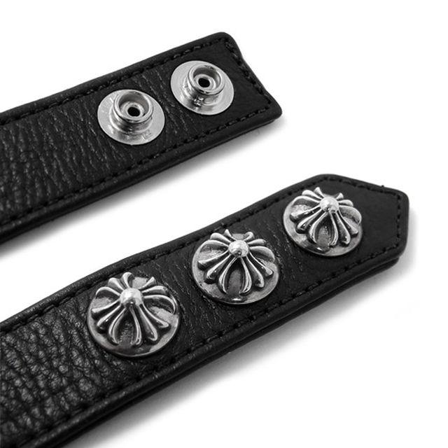 【海外訂購】【Chrome Hearts】純銀十字墜飾黑色牛皮手環(CHLB-008CR-Black  0003440004) 5