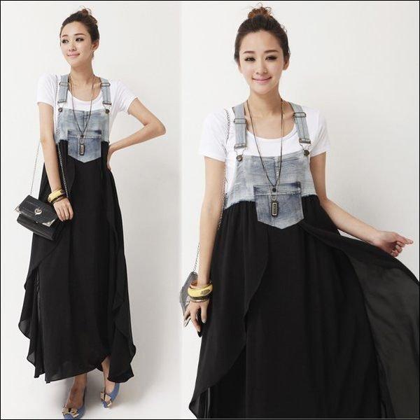 *漂亮小媽咪*韓系時尚水洗仿舊牛仔雪紡拼接設計吊帶裙 背心連身裙 長裙 YS092