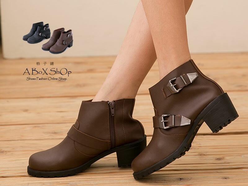 格子舖*【KTPW9365】MIT台灣製 英倫簡約 金屬拉扣環 拉鍊粗跟短靴 工程靴 兩色 1