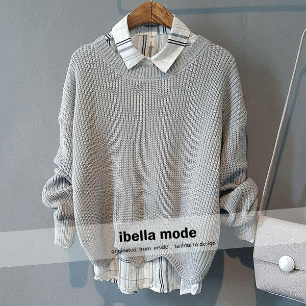 針織衫 文青風波浪下襬毛衣針織衫 日系 ~82~24~89030~ibella 艾貝拉