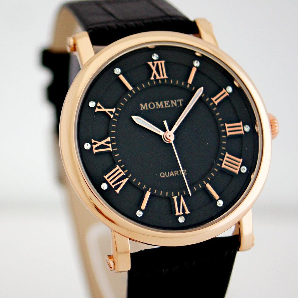 MOMENT FW-8064G 羅馬現代風格皮革石英錶 0