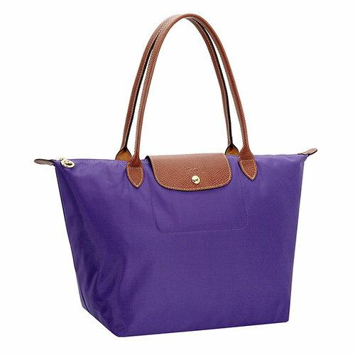 [長柄M號]國外Outlet代購正品 法國巴黎 Longchamp [1899-M號] 長柄 購物袋防水尼龍手提肩背水餃包 水晶紫 0