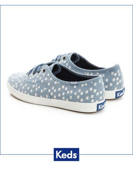 Keds 雪花片片綁帶休閒鞋-淺藍/方塊 1