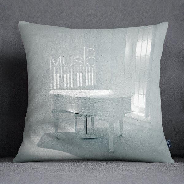 [ IHERMI] 白鋼琴A款抱枕 (45*45CM ) 愛好蜜  MIT台灣製造好安心 環保染劑使用 極細緻印染技術 0