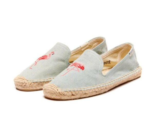 【Soludos】美國經典草編鞋-塗鴉系列草編鞋-青色火烈鳥