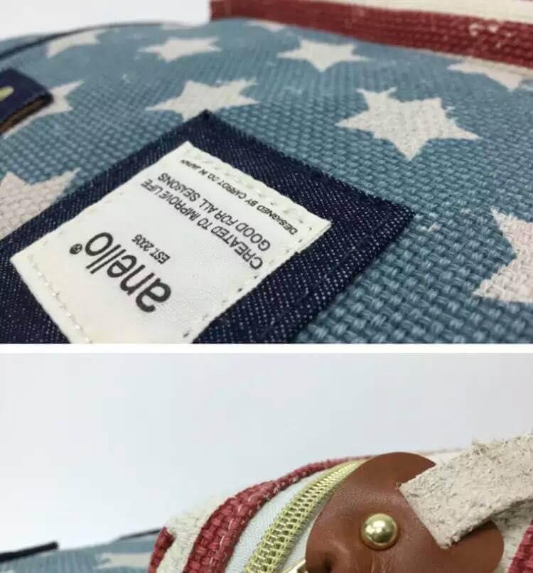 【日本anello】新款-五角星美國國旗亞麻細紋帆布雙肩包 《大號》 4