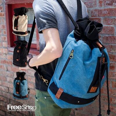 Free Shop【AI2112】馬卡龍色系水洗帆布拼接皮革設計抽繩束口後背包拳擊包‧三色