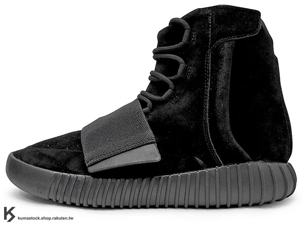 [27cm] 2015 限量發售 嘻哈歌手 Kanye West 設計 adidas YEEZY 750 BOOST TRIPLE BLACK 高筒 麂皮 黑色 黏扣帶 (BB1839) !