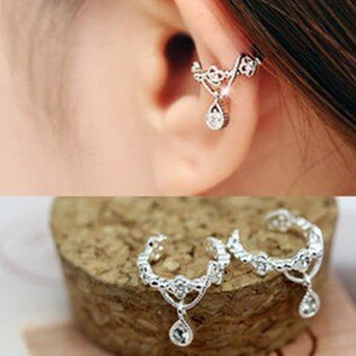 【SiSi 時尚派對】韓版可愛吊鑽镂空 時尚氣質無耳洞耳骨耳夾