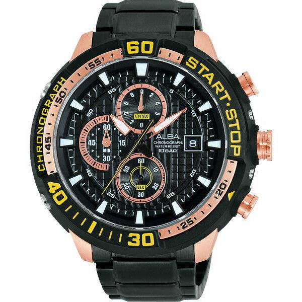 ALBA VD57-X016K(AM3102X1)黑金罐頭潛水風計時腕錶/黑面49mm
