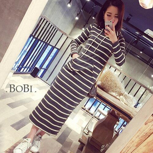 長袖洋裝 條紋包臀連帽長袖洋裝連身裙【KLAS9】 BOBI  10/06 0