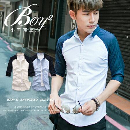 ☆BOY-2☆【NAA608】韓版潮流拼接七分袖襯衫 1