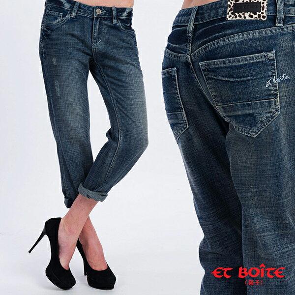 【ET BOîTE 箱子】  輕柔男友八分牛仔褲 0