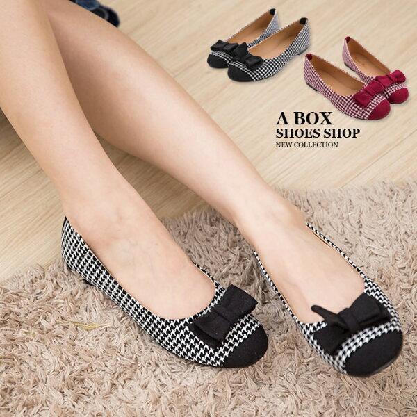 格子舖*【AA716】MIT台灣製 可愛蝴蝶結格紋撞色 質感絨布 圓頭平底包鞋 娃娃鞋 懶人鞋 2色