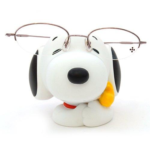 〔小禮堂〕史努比 人形眼鏡架《白.抱糊塗塔客》還可當擺飾