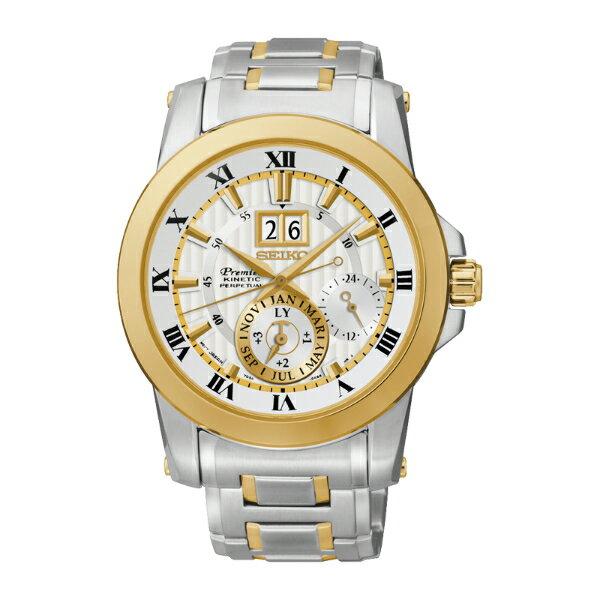 Seiko Premier 7D56-0AB0KS(SNP094J1)人動電能萬年曆大視窗日期經典腕錶/白面金框41mm