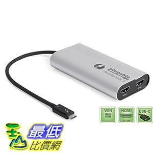 [美國直購] Plugable TBT3-HDMI2X 轉接器 Thunderbolt 3 Dual HDMI Output Display Adapter up to 4K 30Hz